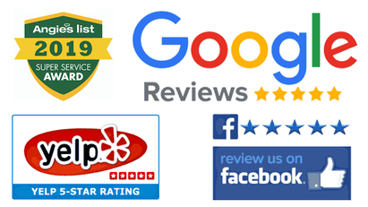 Picture of all of the 5 star reviews we have on the biggest and best platforms